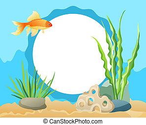 Goldfish Swimming among Seaweed, Stones and Sand