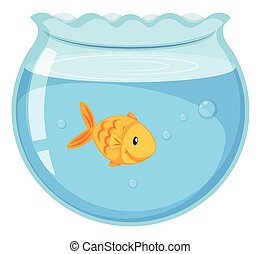 Goldfish swimming in the glass bowl
