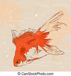 Goldfish. Vector background with space for messages
