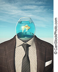 Goldgish bowl - Headless businessman with a goldfish in a ...