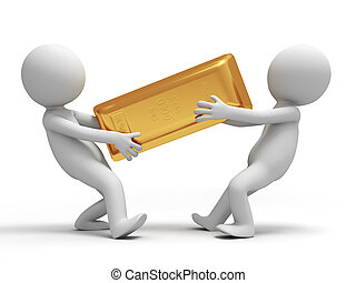 gold brick - Gold,money,two people are fighting for a gold...
