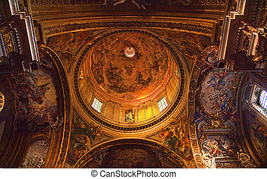 Goldon Baroque Dome and Paintings Gesu Jesuit Church Rome...