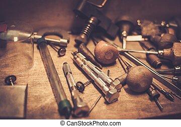goldsmiths, workplace., diferente, herramientas, goldsmith