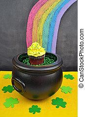 goldtopf, cupcake, ende, a, regenbogen