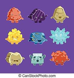 golem, fantastico, set, humanized, differente, pietre, straniero, caratteri, facce, adesivi, amichevole, emoji