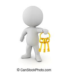 golen, tenue, chaîne, clés, caractère, clã©, 3d
