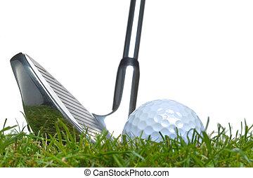 golf, áspero, pelota, tiro, hierro