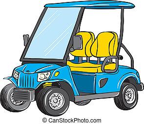 golf, électrique, charrette