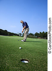 golf., 遊び, 人