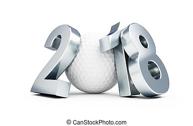 Golf 2018 new year on a white background 3D illustration, 3D...