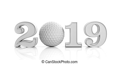 Golf 2019. New year 2019 isolated on white background. 3d illustration