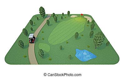 golf, 3d, course., interpretación