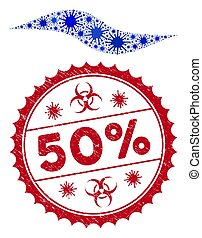 golf, 50%, mozaïek, coronavirus, vorm, postzegel, grunge, ...