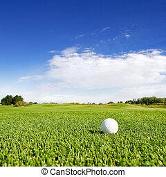 Golf - A golf ball on a fairway on a golf couse