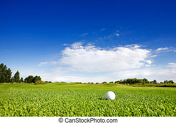 Golf - A golf ball on a fairway on a golf couse