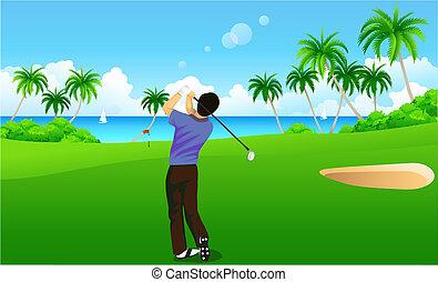 Golf - A man playing golf