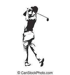 golf, abstrakcyjny, wektor, sylwetka, gracz