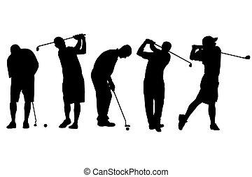 golf, aislado, ilustración, jugador, solo, vector, icono