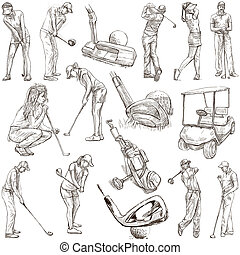 GOLF, Golfers, Golf impact positions and Golf Equipment. Collection of an hand drawn full sized illustrations (originals), pack no.1. Drawings on white background.
