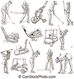 GOLF, Golfers, Golf impact positions and Golf Equipment. Collection of an hand drawn full sized illustrations (originals), pack no.2. Drawings on white background.