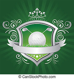 golf, shield, crown, green background