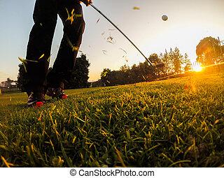 golf, astilla, tiro