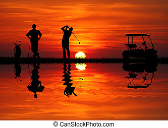 golf at sunset - golfer at sunset
