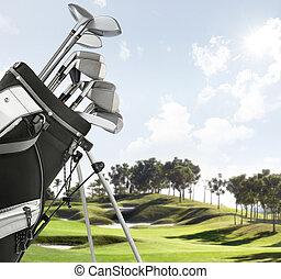 golf- ausrüstung, auf, der, kurs