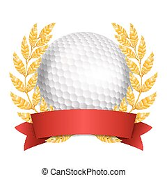 Golf Award Vector. Sport Banner Background. White Ball, Red Ribbon, Laurel Wreath. 3D Realistic Isolated Illustration