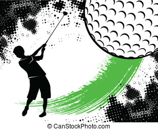 Golf Background With Boy Swinging - golf background...