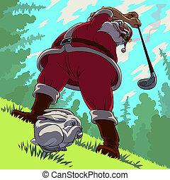 Golf backswing of Santa Claus