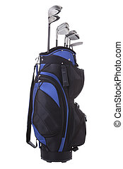 Golf bag and clubs isolated - Blue and black golf bag with...