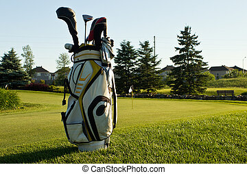 Golf bag on the course