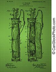 Golf Bag Patent 1905 - Green Vintage patent artwork great...