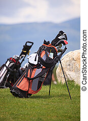 golf bag in spring green golf club grass