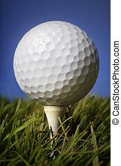 golf bal, in, gras
