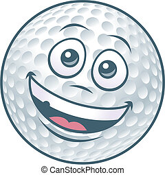 golf bal, karakter, spotprent