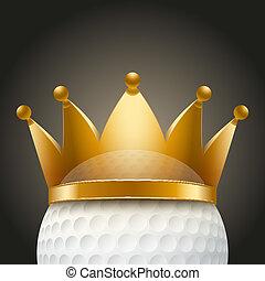 golf bal, kroon, achtergrond, koninklijk