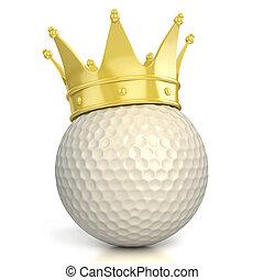 golf bal, kroon, gouden