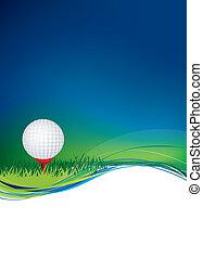 golf bal, op achtergrond, met, kopie, gebied, ruimte