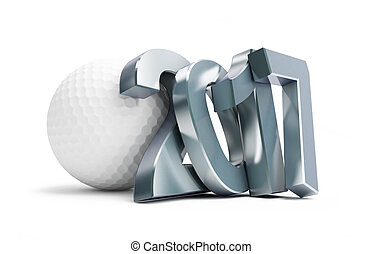 golf ball 2017 3D rendering, on a white background