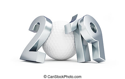 golf ball 2019 new year on a white background 3D illustration, 3D rendering