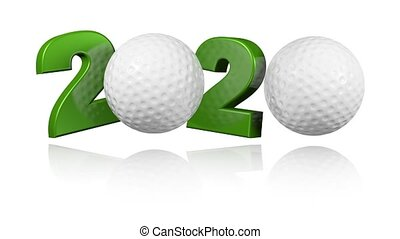 Golf ball 2020 design in Infinite Rotation on a White...