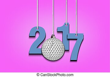 Golf ball and 2017 hanging on strings