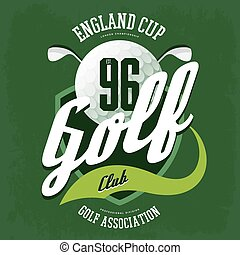 Golf ball and clubs logo for t-shirt or sport cloth