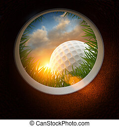 Golf Ball And Hole - Golf Ball and hole - Inside the hole