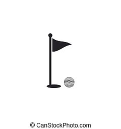 Golf ball and hole with flag icon isolated. Golf course. Ball and flagstick in hole. Sport concept. Flat design. Vector Illustration