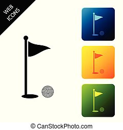 Golf ball and hole with flag icon isolated. Golf course. Ball and flagstick in hole. Sport concept. Set icons colorful square buttons. Vector Illustration