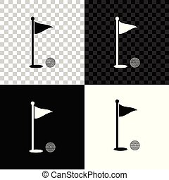Golf ball and hole with flag icon isolated on black, white and transparent background. Golf course. Ball and flagstick in hole. Sport concept. Vector Illustration