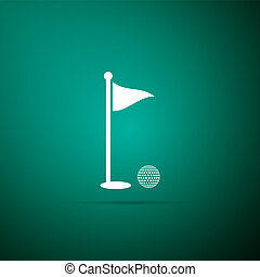 Golf ball and hole with flag icon isolated on green background. Golf course. Ball and flagstick in hole. Sport concept. Flat design. Vector Illustration